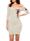 Sexy Floral Broderie Off Shoulder Elegant Women's Bodycon Dress