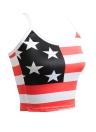 Camis sin mangas sin mangas de la impresión de la raya de la estrella de la bandera americana de Camis del verano atractivo