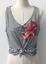 Sexy Stripe Print Floral Bordado Deep V Neck Sleeveless Women's Tank Top