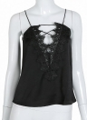 Camisole sexy Cami Strap V-Neck Hollow Out Lace Up Débardeur Femme