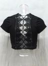 Sexy Hollow Out Lace Up V-Neck manches courtes Casual Women's Crop Top