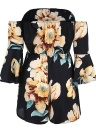 Sexy Women Jumpsuit Floral Print  Bell Sleeves Backless Casual Playsuit Rompers