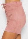 Mini antelina con cordones de las mujeres atractivas del lápiz de la falda sólida delgada de la cintura alta ocasional