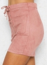 Sexy Femmes Suede Mini Lace-up Crayon Casual Taille Haute Mince Jupe Solide