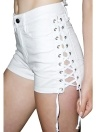 Sexy Denim Crisscross vendaje botón de alta cintura de las mujeres de corto Jeans