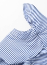 Sexy Striped Oblique Collar Long Sleeve Button Ruffle Women's Blouse
