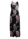 Sexy Floral Print sem mangas Racerback Tunic Maxi Beach vestido longo das mulheres