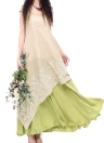 Vintage Loose Floral Embroidery O Neck Two Layers Long Women's Dress