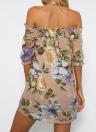 Sexy Off-Shoulder Flower Print Slash Neck robe décontractée pour femme