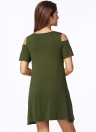 Sexy Tunic Off Shoulder Short Sleeve Pockets Loose Women's T-Shirt Dress
