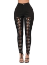 Mujeres Lace Up Hollow Out Alta Agujero Ripped Skinny Pencil Pantalones