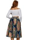 Sexy Pleate Vintage Floral Print High Waist A-Line Midi  Women's Skirt