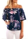 Sexy  Floral Print Off Shoulder Slash Neck Flare Sleeve Women's Blouse