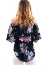 Sexy Floral Print Off Shoulder Slash Neck Flare Sleeve Blouse Femme