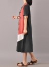 Vintage Cotton O Neck manches courtes Loose Women's Dress