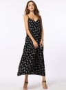 Vintage Long Strappy Floral Print V-Neck Sleeveless Women's Casual Dress