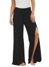 Verano Mujeres Alta Split Flowy pantalón ancho pantalones de las mujeres