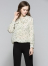 Floral Print Lace-Up V-Neck Long Sleeves Casual Elegant Women's Blouse