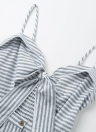 Summer Bow Tie Strap Casual Striped Print Backless Women's  A-Line Dress