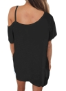 Sexy Cut Out One Shoulder Short Sleeves Loose Solid Casual Women's Tee