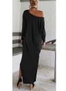 Moda Plus Size Off Shoulder Split Long Sleeve Women's Maxi Dress