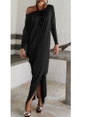 Moda Plus Size Off Shoulder Split Long Sleeve Women's Maxi Dress