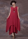 Casual Retro  Solid Sleeveless O-Neck Pockets Boho Women's Plus Size Dress