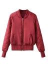 Fashion Satin Bomber Jacket Quilted Long Sleeve Cotton  Women's Jacket