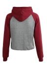 Camisola de colheita Contraste Casual Hoods de luva de malha de bolso