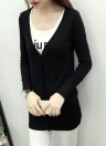 Fashion Knitted V Neck Long Sleeve Button Solid Slim  Women's Knitwear
