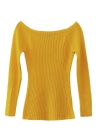 Basic Sweater Slash Neck Solid Knitted Slim  Long Sleeves Women's  Pullover
