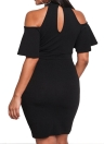 Sexy Off Shoulder  Cut Out Chocker Bodycon Women's Plus Size Dress