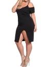 Sexy Off Shoulder Deep V Neck Spaghetti Strap  Women's Plus Size  Dress