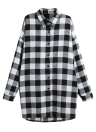Frauen unregelmäßige Plus Size Casual Check Tunika lange Bluse