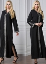Fashion Middle East Hooded Side Slit Robe musulman Robe longue femme islamique