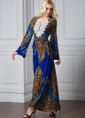 Women Bohemian Long Dress Flare Sleeve Vestido islâmico casual de praia