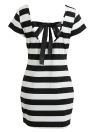 Sexy Striped Print Cut Out Tie Bow Backless Bandage Vestido casual feminino