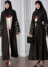 Fashion Muslim Robe Crochet Lace Cuff Long Sleeve Cardigan Women's Dress