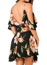 Summer Cold Shoulder Flower Print Irregular  V Neck Women's  Dress