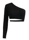 Sexy One-Shoulder Bandage Backless Long Sleeves  Women's  Crop Top
