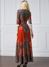 Bohemian Print Lace Splice with Belt  Women's Plus Size Maxi Dress