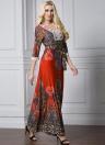 Bohemian Print Lace Splice with Belt Women's Plus Size Maxi Dress