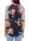 Fashion Floral Print Stripes O-neck 3/4 Sleeves Irregular hem T-shirt Femme