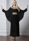 Moda bordado manga comprida islâmica Chiffon Mulheres muçulmana Maxi vestido