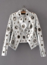 Fashion PU Leather Hollow Out Long Sleeve Hole Short Golden Women's Jacket