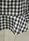 Off Shoulder Checked Plaid Ruffles Flared Sleeve Slim Belted Women's Dress