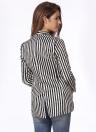 Contraste de moda rayas bolsillos mangas largas elegante abrigo de las mujeres