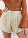 Fashion  Elastic High Waist Shorts Bowknot Sash Women's Shorts