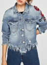 Femmes Floral Broderie Ripped Fringe Casual Denim Jacket