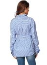 Fashion Striped Long Sleeve with Belt Top Women's Blouse